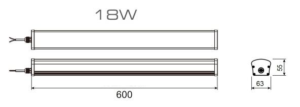 wymiary oprawy hermetycznej LED 18w 60cm
