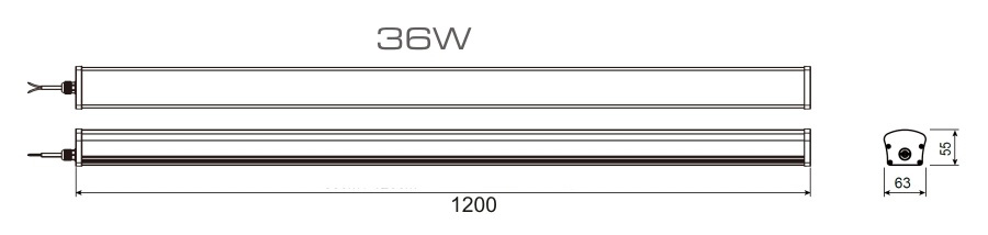 wymiary oprawy hermetycznej LED 36w 120cm